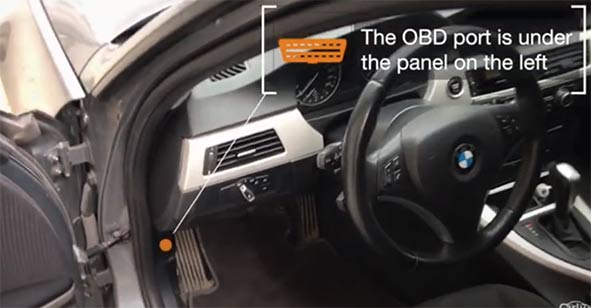 Where is the OBD2 port in my BMW 3 E90 (2005-2013)